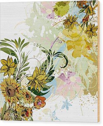 Autumn Sunflower Digital Illustration Wood Print by Heinz G Mielke