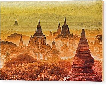 Bagan Pagodas Wood Print by Dennis Cox WorldViews