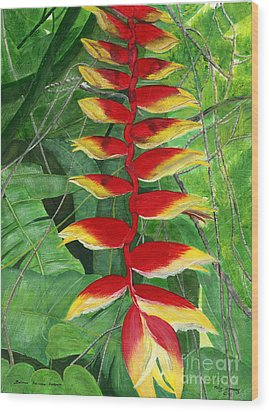 Wood Print featuring the painting Balinese Heliconia Rostrata by Melly Terpening