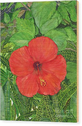 Wood Print featuring the painting Balinese Hibiscus Rosa by Melly Terpening