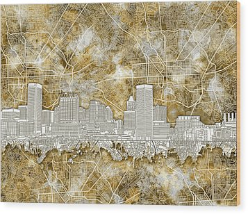 Wood Print featuring the painting Baltimore Skyline Watercolor 13 by Bekim Art