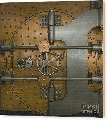 Bank Vault Door Exterior Wood Print by Adam Crowley