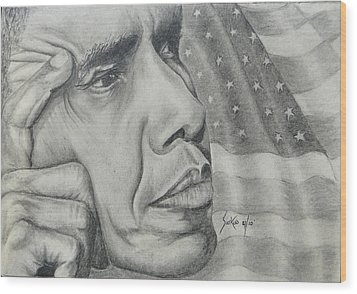 Barack Obama Wood Print by Stephen Sookoo