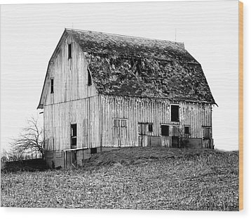 Barn On The Hill Bw Wood Print by Julie Hamilton