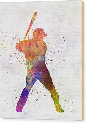 Baseball Player Waiting For A Ball Wood Print by Pablo Romero