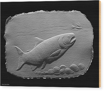 Wood Print featuring the relief Bass Fish by Suhas Tavkar