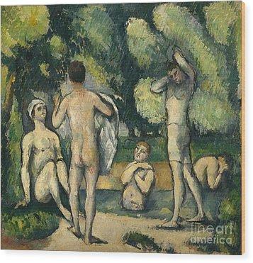 Bathers Wood Print by Paul Cezanne