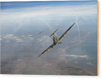 Wood Print featuring the photograph Battle Of Britain Spitfires Over Kent by Gary Eason