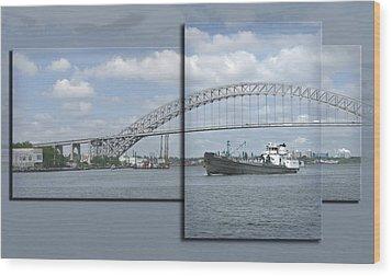 Bayonne Bridge And Boat Wood Print by Richard Xuereb