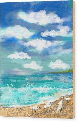 Beach Birds Wood Print by Elaine Lanoue