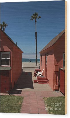 Beach Cottages Wood Print by Kim Pascu