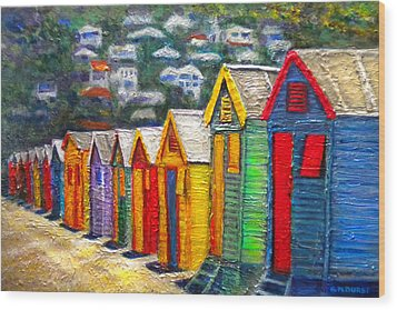 Beach Houses At Fish Hoek Wood Print by Michael Durst