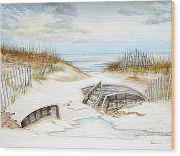 Beached Boats Wood Print by Pauline Ross