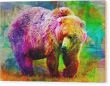 Bear Wood Print by Elena Kosvincheva