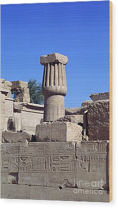 Wood Print featuring the photograph Belief In The Hereafter - Luxor Karnak Temple by Urft Valley Art
