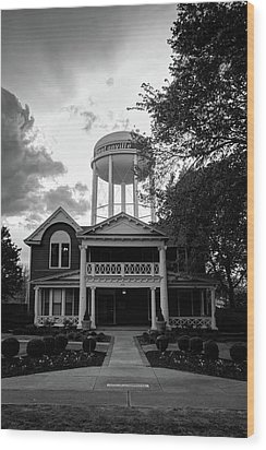 Wood Print featuring the photograph Bentonville Arkansas Water Tower - Black And White by Gregory Ballos