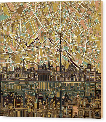 Berlin City Skyline Abstract Wood Print by Bekim Art