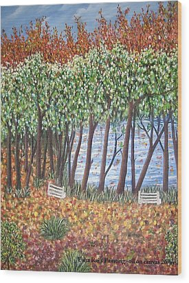 Beside The Pond Wood Print by Usha Rai