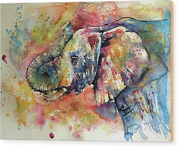 Wood Print featuring the painting Big Colorful Elephant by Kovacs Anna Brigitta