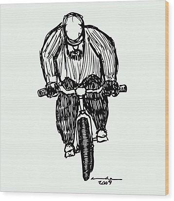 Biking Man Wood Print by Karl Addison
