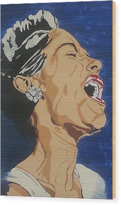 Wood Print featuring the painting Billie Holiday by Rachel Natalie Rawlins