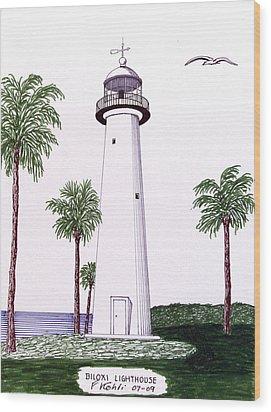 Biloxi Lighthouse Wood Print by Frederic Kohli
