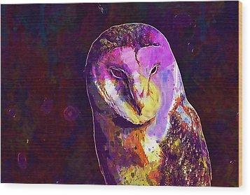 Wood Print featuring the digital art Bird Barn Owl Owl Barn Animal  by PixBreak Art