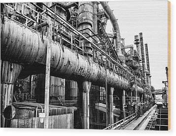 Black And White - Bethlehem Steel Mill Wood Print by Bill Cannon