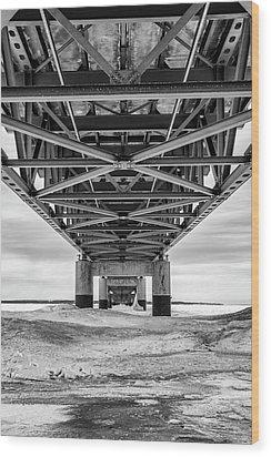 Wood Print featuring the photograph Black And White Mackinac Bridge Winter by John McGraw
