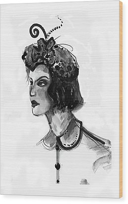 Wood Print featuring the mixed media Black And White Watercolor Fashion Illustration by Marian Voicu