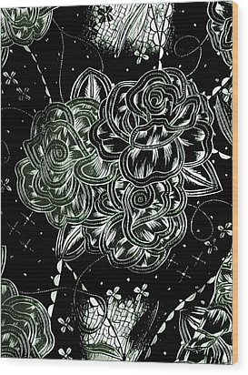 Black Flower Wood Print