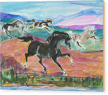 Black Pony Wood Print by Mary Armstrong
