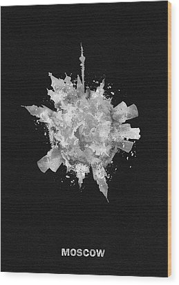Black Skyround Art Of Moscow, Russia Wood Print