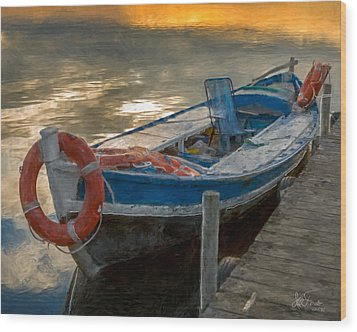 Wood Print featuring the photograph Blue Boat by Juan Carlos Ferro Duque