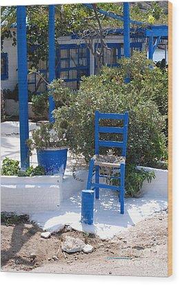 Blue Chair Wood Print by Andrea Simon