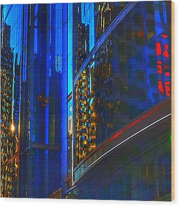 Wood Print featuring the photograph Blue Cityscape by Marianne Dow