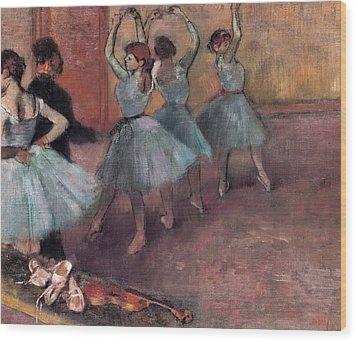 Blue Dancers Wood Print by Edgar Degas