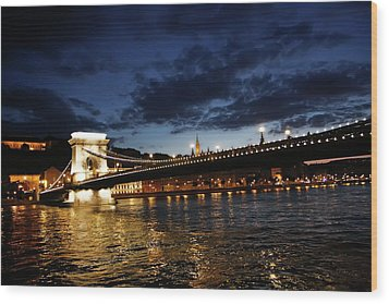 Blue Danube Sunset Budapest Wood Print