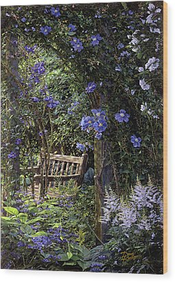 Blue Garden Respite Wood Print by Doug Kreuger