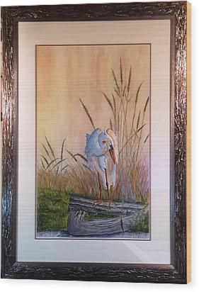 Blue Heron On A Log  Wood Print
