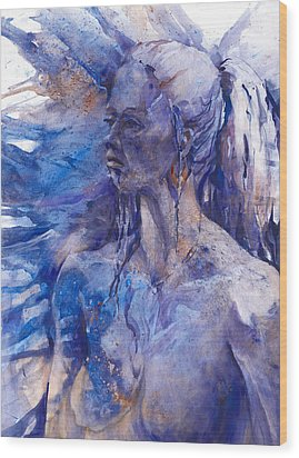 Blue Lady Wood Print by Joan  Jones
