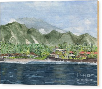 Wood Print featuring the painting Blue Lagoon Bali Indonesia by Melly Terpening