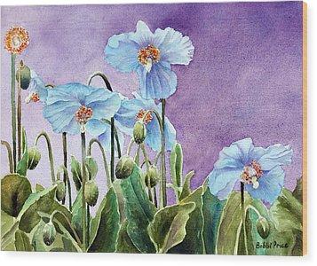Blue Poppies Wood Print by Bobbi Price