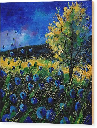 Blue Poppies  Wood Print by Pol Ledent