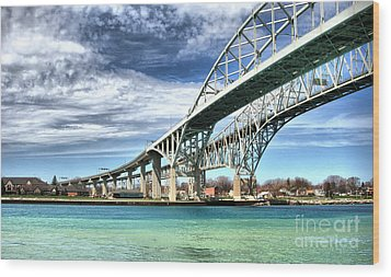 Blue Water Bridge Wood Print