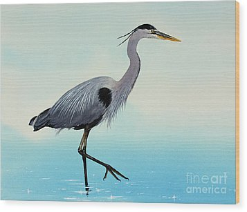 Wood Print featuring the painting Blue Water Heron by James Williamson