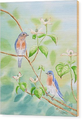 Bluebirds In Dogwood Tree Wood Print by Kathryn Duncan