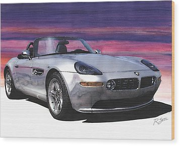 Wood Print featuring the painting Bmw Z8 by Rod Seel