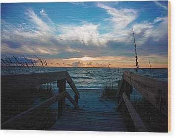 Boardwalk At Delnor-wiggins Pass State Park Wood Print by Robb Stan