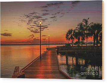 Boardwalk Sunrise Wood Print by Tom Claud